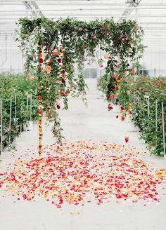 Hanging floral wedding arbor