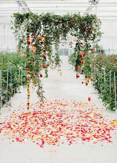 Hanging floral wedding arbor