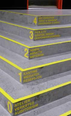Wayfinding Westerdals :: Signage and environmental design Environmental Graphic Design, Environmental Graphics, Design Retro, Modern Design, Wayfinding Signs, Directional Signage, Sign System, Signage Design, Banner Design