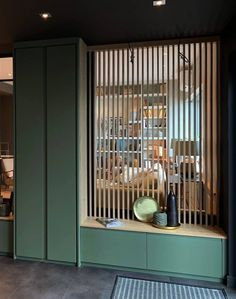 Cleat decoration: Useful and Aesthetic – Compagnie des Ateliers - Raumteiler Home Entrance Decor, Entrance Design, House Entrance, Entryway Decor, Living Room Partition Design, Room Partition Designs, Home Interior Design, Interior Architecture, Separating Rooms