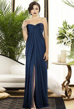 Brides.com: 52 Bridesmaid Dresses Your Girls Will Want to Wear Again. Style 2879, strapless lux chiffon bridesmaid dress in midnight with a sweetheart neckline and front slit, $264, Dessy available at Weddington Way  See more Dessy bridesmaid dresses.