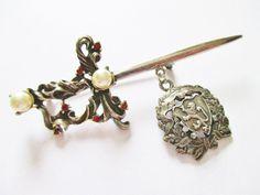 Vintage Sword / Lion Crest Dangle Pin Brooch Red Rhinestones Faux Pearls  #UnsignedSwordLionCrestDanglePinBrooch