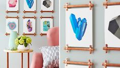 Picture frames with copper trim.