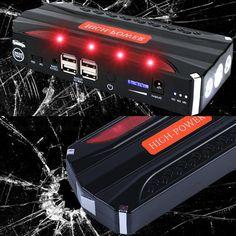 Warehouse in RU Emergency car battery jump starter portable power bank Auto Charger Start Jumper Police lights Life hammer USB