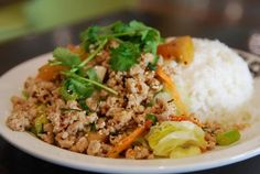 Larb Chicken salad is classic Thai. I make it with chicken, but in Thailand pork or beef are also used.