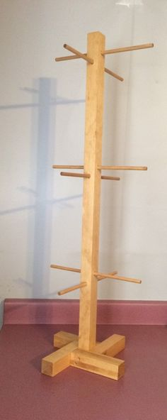 Wood Jewelry Display 6 peg 36 tall. by SawdustisHappiness on Etsy