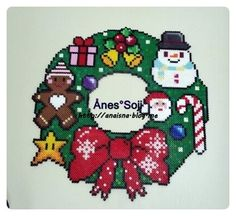 Christmas wreath perler beads by anaisna_anesthesiologist Soji