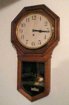 1920s Waterbury Regulator Clock--from one-room schoolhouse | Collectors Weekly - GOOD overview of regulator clocks at http://www.collectorsweekly.com/clocks/regulator
