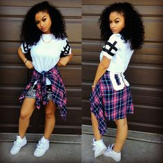 India Westbrooks WCW Curly Hair Girls Rock Pretty Girl Swag TShirt Plaid Shirt Tied Around Waist Nike Air Force 1 Streetwear Urban Fashion Style African American Women Outfit OOTD Trend