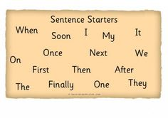 Sentence Starter Word Mat or Word Bank H-1