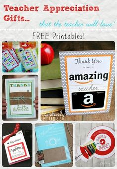 Free printables for cute teacher appreciation gift card ideas!