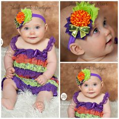 Halloween romper and Halloween headband SET petti by ThinkPinkBows, $15.95