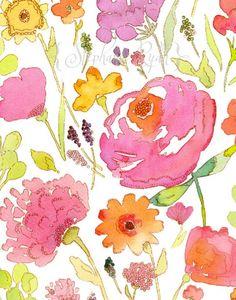 Watercolor Art Painting Print Jessica's Garden ~ Stephanie Ryan Art