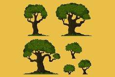 Tree vector set. Objects. $6.00