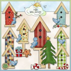 Christmas Birdhouses 1 - NE Cheryl Seslar Clip Art : Digi Web Studio, Clip Art, Printable Crafts & Digital Scrapbooking!