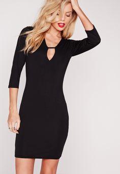 Missguided - Plunge Strap T-Shirt Dress Black