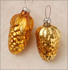 Antique Christmas ornaments GOLDEN CONES