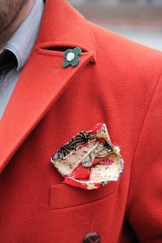 Red Coat x Pocket Square Details #menswear