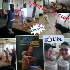 Fit Club at my home on Saturday Mornings is so much fun, even our doggies have a good time ;)    Today we did Hip Hop Abs.    www.myinspiredfitness.com
