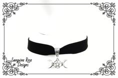 TRIPLE GODDESS CHOKER Necklace, Triple Moon Black Velvet Choker, Pagan Choker, Wicca Choker, Goddess Jewellery, Adjustable, Various Sizes Wicca, Pagan, Black Velvet Choker Necklace, Triple Moon, Triple Goddess, Moonstone Earrings, Moon Jewelry, Velvet Ribbon, Chokers