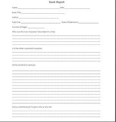 Book Report Template   SUMMER BOOK REPORT 4th -6th grade ...