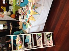market stall - bunting display, stand shelving display for layers & focal points