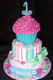 girls birthday cake first birthday with cupcakes - Google Search