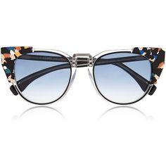Fendi Contrast Tip Cat Eye Sunglasses (8,130 MXN) ❤ liked on Polyvore featuring accessories, eyewear, sunglasses, glasses, очки, black, black cateye glasses, black cat eye sunglasses, black glasses and black cateye sunglasses