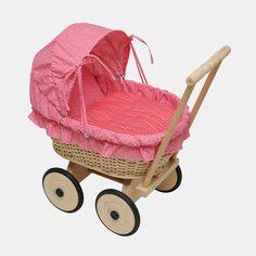 Korb-Puppenwagen mit rosa Faltdach aus Baumwolle    Dieser schöne, nostalgische…