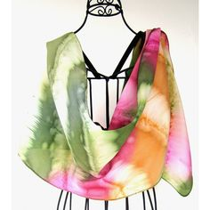 Hand painted silk scarf, Boho scarf, Spring scarf, Tie Dye scarf,... ($35) ❤ liked on Polyvore