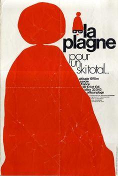 La Plagne altitude 1970 m Savoie France - Pour un ski total... - Affiche originale (ca 1975)