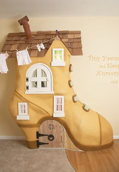 an armoire made to look like a giant shoe from the nursery rhyme. considering the size of this thing, there is not nearly enough storage, but it looks pretty cool.