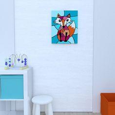 Canvas of the fox by Decoludik on Etsy Fox Art, Kids Room Art, Canvas Prints, Art Prints, Nursery Wall Art, Cotton Canvas, Original Paintings, Wall Decor, Etsy