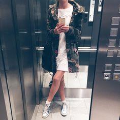"""Gefällt 46 Mal, 2 Kommentare - Bine kocht! (@bine_kocht) auf Instagram: """"#White #camouflage #converse #blondeno8 #laurel #dress #dressedforsuccess #green #fashion #ootd…"""""""
