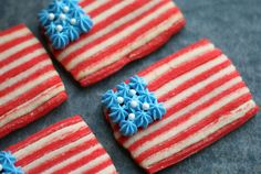 Show off your stars and your stripes (and your cookie decorating skills) with these flag sugar cookies. Get the recipe on Tune 'n Fork.   - TownandCountryMag.com