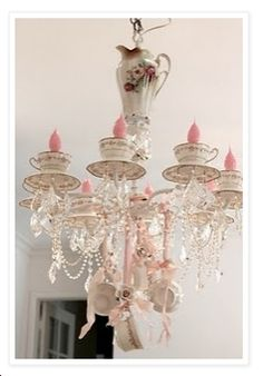Teacup Chandelier - switch out bulbs and add teacups and saucers to existing chandelier