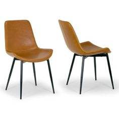 7d4f063b838 Set of 2 Alary Caramel Brown Faux Leather Modern Dining Chair with Black  Iron Legs