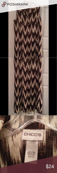 Chicos Ikat Linen Dress 2.5  L (12-14) EUC Chicos Artsy Ikat Linen A-Line Dress, no belt size 12-14 L ... Chicos size 2.5 Chico's Dresses Midi