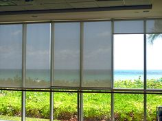 Excellent for both commercial and residential use, solar shades can be used alone for a contemporary look, or paired with panels or drapes for those with more traditional tastes. The view is barely obscured, yet privacy is assured. No one on the outside can see in.
