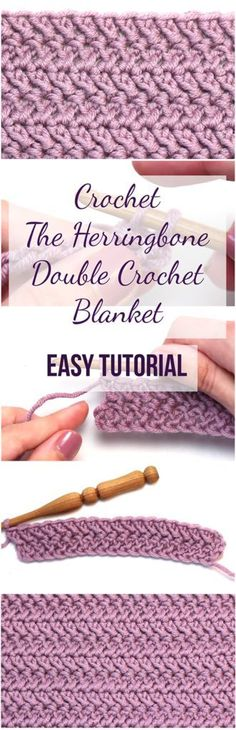 Crochet The Herringbone Double Crochet Blanket Easy Tutorial