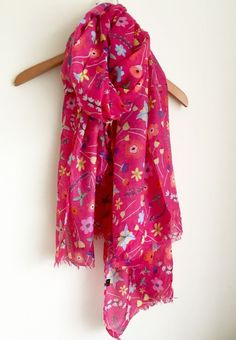 LADIES FUN BRIGHT HOT PINK  FLORAL MIX PRINT SOFT OVERSIZED SCARF WRAP COVER UP