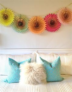 Neon Gold Punch 5 Fancy Frill Fans Tissue by EverlyLaneDesign, $37.00