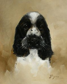 I bought this Original Oil painting of a cocker spaniel dog by by johnspaintings
