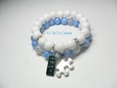 Autism Awareness set Beautiful blue agates and by TheHCollection, $32.95