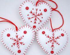 Feltro Natale ornamenti 3 rosso e bianco case di PuffinPatchwork