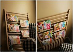 Magazine rack - or towel or quilt rack. From I'm a Big Kid Now: 13 Ways to Repurpose Baby Furniture via Brit + Co.