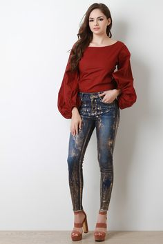 Metallic Streak Skinny Denim Jeans - Avenue of Angels Girl Fashion, Fashion Outfits, Womens Fashion, Fashion Trends, Denim Skinny Jeans, Blue Jeans, Denim Fabric, Beautiful Models, Beautiful Women