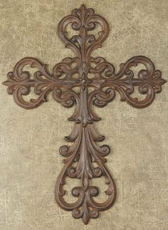 """CAST IRON CROSS (SET OF 2) by DRAKE DESIGN. $38.00. FC-688. Cast Iron Open Cut Cross Set of 2 Sold in assortment only Cast Metal 14"""" tall"""