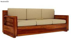 Buy Marriott 3 Seater Wooden Sofa (Honey Finish) Online in India - Wooden Street Tv Showcase Design, Wooden Sofa Set Designs, Wooden Street, Ethnic Home Decor, Living Room Sofa Design, Sofa Furniture, Furniture Ideas, 3 Seater Sofa, Traditional Furniture