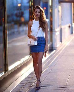 Jessica Ricks wearing a denim mini skirt and ankle strap heels. Beauty on High Heels Mode Outfits, Skirt Outfits, Sexy Outfits, Sexy Dresses, Summer Outfits, Fashion Outfits, Short Dresses, Look Fashion, Skirt Fashion